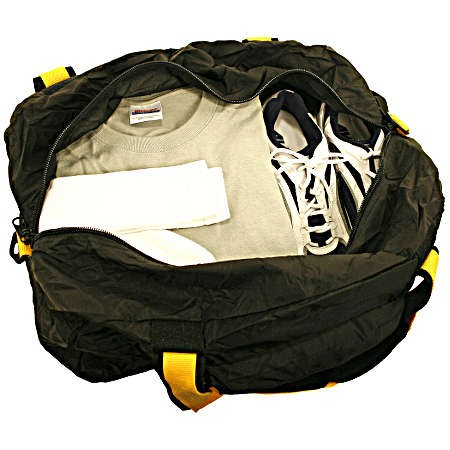 A.saks On The Go Folding 2 In 1 36in. Duffle & Expandable Toiletry Kit - Black/yellow