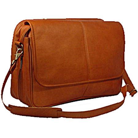David King Leather Luggage Expandable Messenger Bag - Black