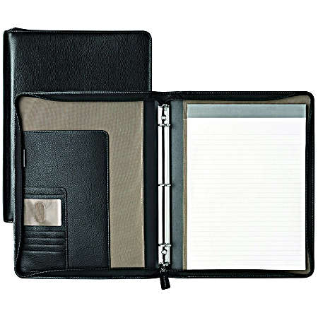 Johnston And Murphy Leather Travel Collection Zip Letter Folio - Black Tumbled
