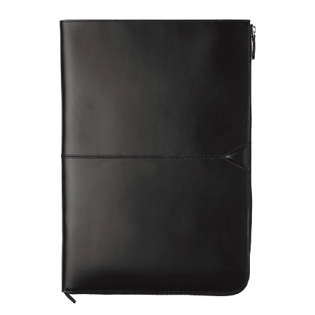 Johnston And Murphy Leather Travel Collection Zippered Envelope Folio - Black Waxhide