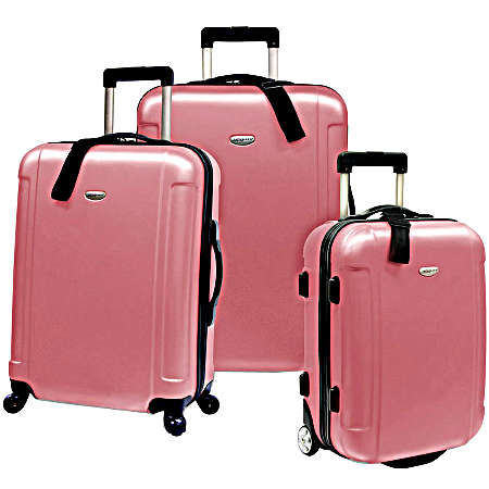 Travelers Choice Discount Luggage and Sets Freedom 3-Piece Lightweight Hard-Shell Spinning/Rolling Travel Collection - Pink