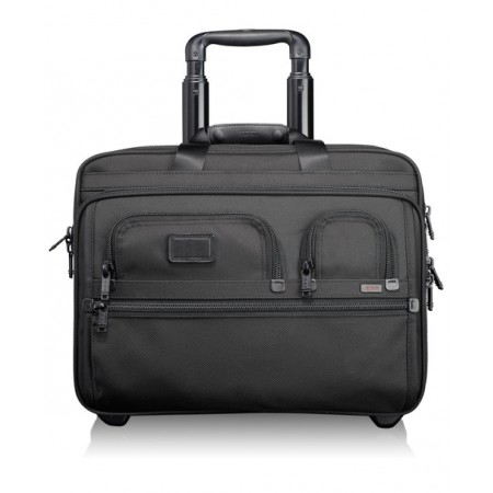 Tumi Alpha Travel and Business Deluxe Wheeled Brief with Laptop Case - Black