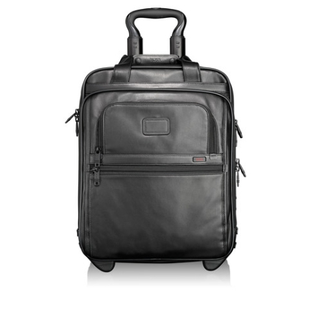 Tumi Alpha Travel And Business Leather Tall Wheeled International Brief With Laptop Cover